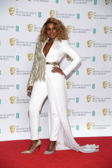 LONDON, ENGLAND - FEBRUARY 10:  Mary J. Blige poses in the press room during the EE British Academy Film Awards at Royal Albert Hall on February 10, 2019 in London, England. (Photo by Pascal Le Segretain/Getty Images)