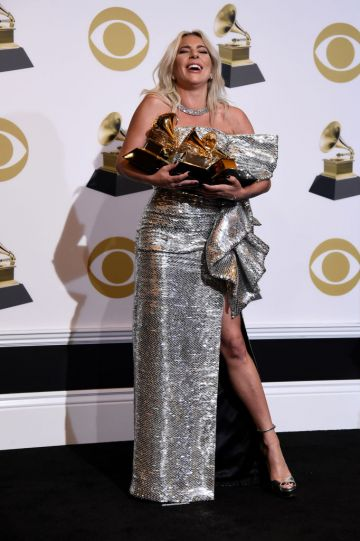 LOS ANGELES, CALIFORNIA - FEBRUARY 10: Lady Gaga, winner of Best Pop Duo/Group Performance and Best Song Written for Visual Media for 'Shallow' and Best Pop Solo Performance for 'Joanne,' poses in the press room during the 61st Annual GRAMMY Awards at Staples Center on February 10, 2019 in Los Angeles, California. (Photo by Amanda Edwards/Getty Images)