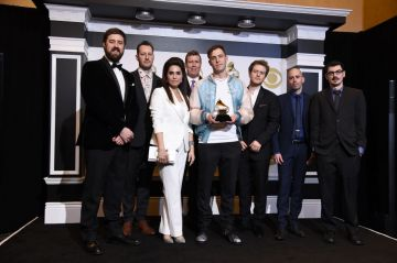 """LOS ANGELES, CALIFORNIA - FEBRUARY 10: Engineers behind """"Colors"""", winners of Best Engineered Album, Non-Classical, pose in the press room during the 61st Annual GRAMMY Awards at Staples Center on February 10, 2019 in Los Angeles, California. (Photo by Amanda Edwards/Getty Images)"""
