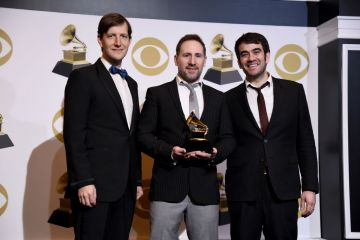 """LOS ANGELES, CALIFORNIA - FEBRUARY 10: Members of the Punch Brothers, winner of Best Folk Album for """"All Ashore"""", pose in the press room during the 61st Annual GRAMMY Awards at Staples Center on February 10, 2019 in Los Angeles, California. (Photo by Amanda Edwards/Getty Images)"""