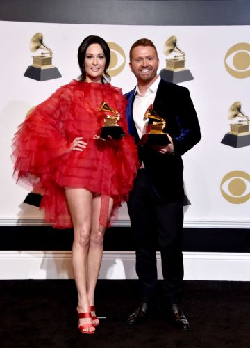 LOS ANGELES, CA - FEBRUARY 10:  Kacey Musgraves (L) and Shane McAnally, winners of the Best Country Song award for 'Space Cowboy, pose in the press room during the 61st Annual GRAMMY Awards at Staples Center on February 10, 2019 in Los Angeles, California.  (Photo by Alberto E. Rodriguez/Getty Images for The Recording Academy)