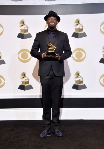 LOS ANGELES, CA - FEBRUARY 10:  Larrance Dopson poses with award for Best R&B Song in the press room during the 61st Annual GRAMMY Awards at Staples Center on February 10, 2019 in Los Angeles, California.  (Photo by Alberto E. Rodriguez/Getty Images for The Recording Academy)