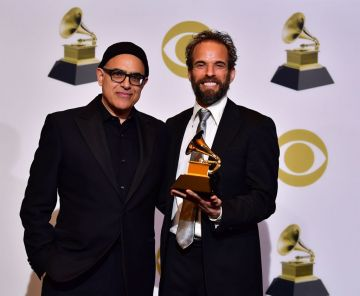 Winners of Best Musical Theater Album for 'The Band's Visit,' David Yazbek (L) and Dean Sharenow (R), pose in the press room during the 61st Annual Grammy Awards at Staples Center on February 10, 2019 in Los Angeles, California. (Photo by Frederic J. BROWN / AFP)        (Photo credit should read FREDERIC J. BROWN/AFP/Getty Images)