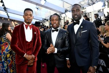 (L-R) Stephan James, Shameik Moore and Shamier Anderson attend the 91st Annual Academy Awards on February 24, 2019 in Hollywood, California. (Photo by Kevork Djansezian/Getty Images)