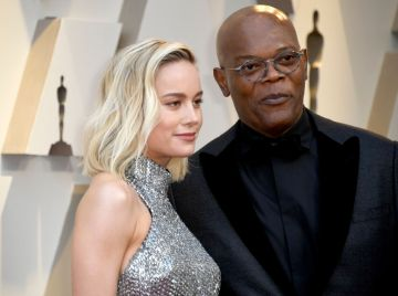 (L-R) Brie Larson and Samuel L. Jackson attend the 91st Annual Academy Awards on February 24, 2019 in Hollywood, California. (Photo by Frazer Harrison/Getty Images)