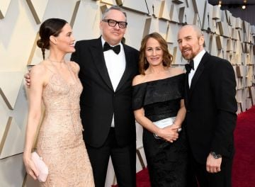 (L-R) Leslie Bibb, director Adam McKay, Shira Piven, and Sam Rockwell attend the 91st Annual Academy Awards on February 24, 2019 in Hollywood, California. (Photo by Kevork Djansezian/Getty Images)