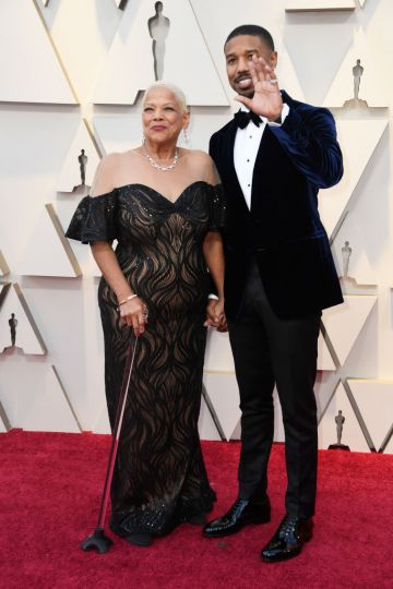 (L-R) Donna Jordan and Michael B. Jordan attend the 91st Annual Academy Awards on February 24, 2019 in Hollywood, California. (Photo by Frazer Harrison/Getty Images)