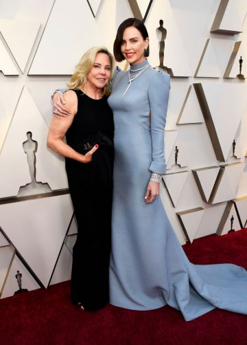 (L-R) Gerda Maritz and Charlize Theron attend the 91st Annual Academy Awards on February 24, 2019 in Hollywood, California. (Photo by Kevork Djansezian/Getty Images)