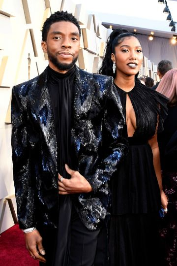(L-R) Chadwick Boseman and Taylor Simone Ledward attend the 91st Annual Academy Awards on February 24, 2019 in Hollywood, California. (Photo by Kevork Djansezian/Getty Images)