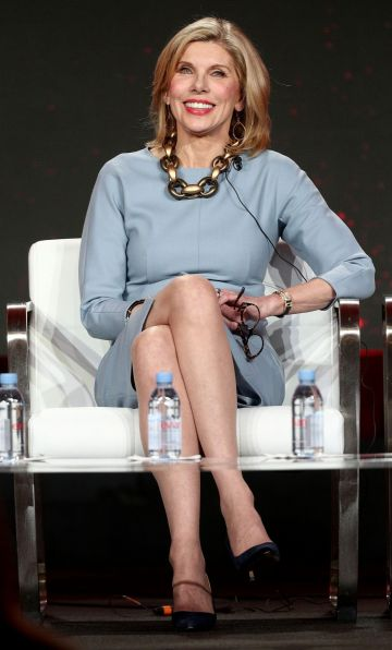 """Christine Baranski of the television show """"The Good Fight"""" speaks during the CBS segment of the 2019 Winter Television Critics Association Press Tour at The Langham Huntington, Pasadena on January 30, 2019 in Pasadena, California. (Photo by Frederick M. Brown/Getty Images)"""