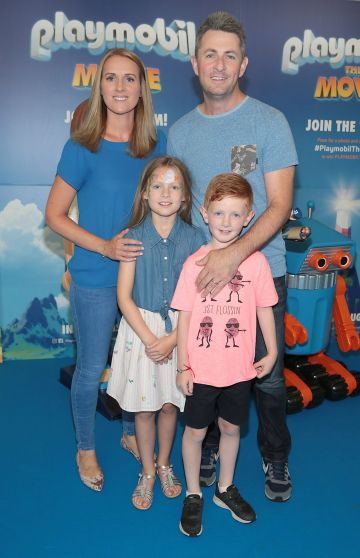 Rebecca Healy and Gareth Healy with children Sophie Healy and Aaron Healy at the special preview screening of Playmobil : The Movie. Photo: Brian McEvoy