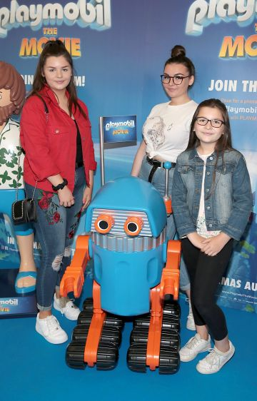 Emma McAlister, Sarah McAlister,and Lucy McAlister at the special preview screening of Playmobil : The Movie. Photo: Brian McEvoy