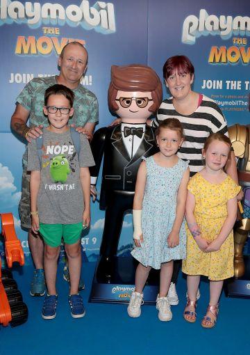 David Hayden, Laura Hayden, Christian Hayden, Darcy Hayden and Chloe Swords at the special preview screening of Playmobil : The Movie. Photo: Brian McEvoy