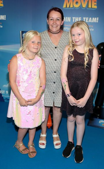 Lucy Fox Angela Byrne and Rebecca Duff at the special preview screening of Playmobil : The Movie. Photo: Brian McEvoy