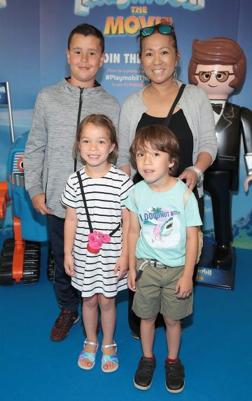 Cat Cleary,Tadhg Mac U Craine ,Elodie Cleary and Joshua Cleary at the special preview screening of Playmobil : The Movie. Photo: Brian McEvoy