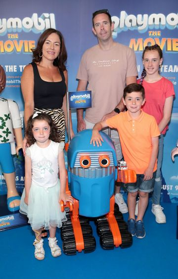 Valerie Kavanagh,Stephen Kavanagh with children Aoife ,Bobby and Sofia Kavanagh at the special preview screening of Playmobil : The Movie. Photo: Brian McEvoy