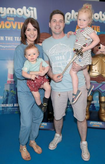 Dee Woods,and Marty Miller with children Nathan and Eleanor at the special preview screening of Playmobil : The Movie. Photo: Brian McEvoy