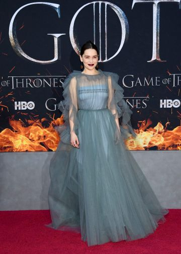 "NEW YORK, NEW YORK - APRIL 03: Emilia Clarke attends the ""Game Of Thrones"" Season 8 Premiere on April 03, 2019 in New York City. (Photo by Dimitrios Kambouris/Getty Images)"