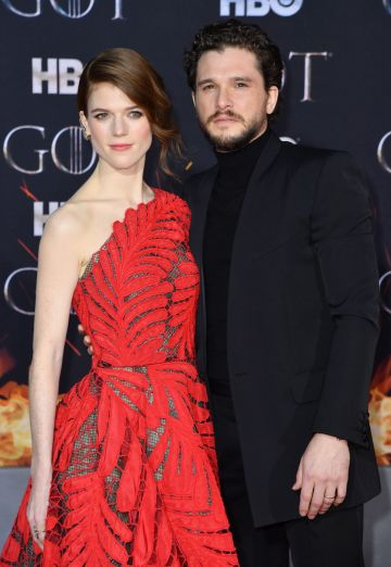 "Scottish actress Rose Leslie and husband British actor Kit Harington arrive for the ""Game of Thrones"" eighth and final season premiere at Radio City Music Hall on April 3, 2019 in New York city. (Photo by Angela Weiss / AFP)        (Photo credit should read ANGELA WEISS/AFP/Getty Images)"