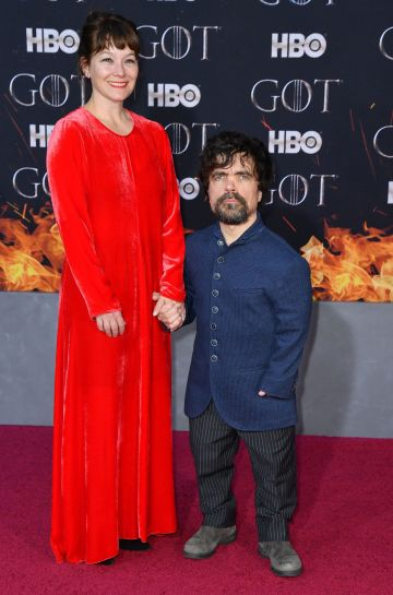 "US actor Peter Dinklage and his wife Erica Schmidt arrive for the ""Game of Thrones"" eighth and final season premiere at Radio City Music Hall on April 3, 2019 in New York city. (Photo by Angela Weiss / AFP)        (Photo credit should read ANGELA WEISS/AFP/Getty Images)"