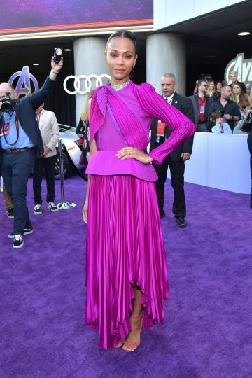 """Zoe Saldana attends the world premiere of Walt Disney Studios Motion Pictures """"Avengers: Endgame"""" at the Los Angeles Convention Center on April 22, 2019 in Los Angeles, California.  (Photo by Amy Sussman/Getty Images)"""