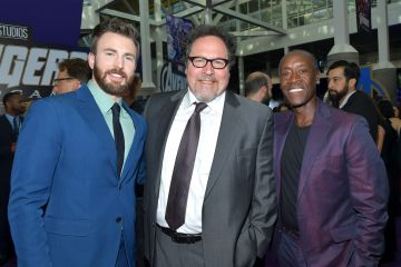 """(L-R) Chris Evans, Jon Favreau and Don Cheadle attend the world premiere of Walt Disney Studios Motion Pictures """"Avengers: Endgame"""" at the Los Angeles Convention Center on April 22, 2019 in Los Angeles, California.  (Photo by Amy Sussman/Getty Images)"""