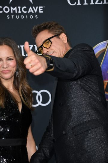 """US actor Robert Downey Jr. and Susan Downey arrive for the World premiere of Marvel Studios' """"Avengers: Endgame"""" at the Los Angeles Convention Center on April 22, 2019 in Los Angeles. (Photo by VALERIE MACON/AFP/Getty Images)"""