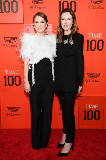 Julianne Moore (L) and Clare Waight Keller attend the TIME 100 Gala 2019 Lobby Arrivals at Jazz at Lincoln Center on April 23, 2019 in New York City. (Photo by Dimitrios Kambouris/Getty Images for TIME)
