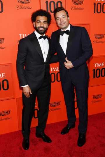 Mohamed Salah (L) and Jimmy Fallon attend the TIME 100 Gala Red Carpet at Jazz at Lincoln Center on April 23, 2019 in New York City. (Photo by Dimitrios Kambouris/Getty Images for TIME)