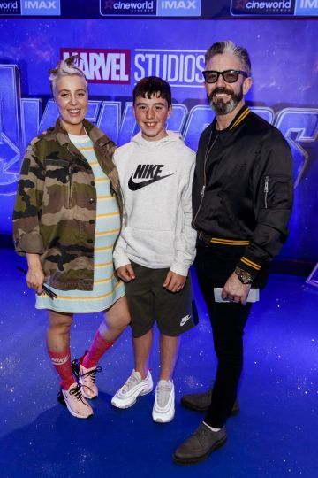 Aimee Penco, James Brennan and Mark O'Keeffe with pictured at the special preview screening of Marvel Studios' Avengers: Endgame at Cineworld Dublin. Picture by: Andres Poveda