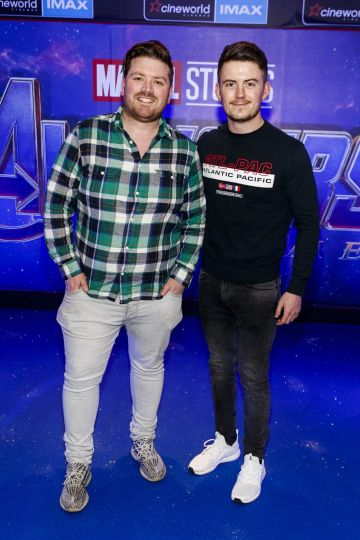 Thomas Crosse and Conor Corcoran pictured at the special preview screening of Marvel Studios' Avengers: Endgame at Cineworld Dublin. Picture by: Andres Poveda