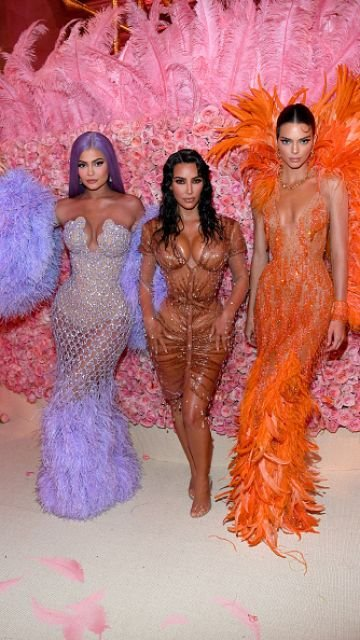 Kylie Jenner,  Kim Kardashian West, and Kendall Jenner attend The 2019 Met Gala Celebrating Camp: Notes on Fashion at Metropolitan Museum of Art on May 06, 2019 in New York City. (Photo by Kevin Mazur/MG19/Getty Images for The Met Museum/Vogue)