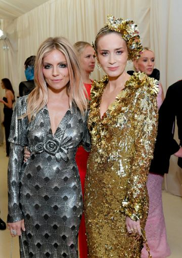 Sienna Miller and Emily Blunt attend The 2019 Met Gala Celebrating Camp: Notes on Fashion at Metropolitan Museum of Art on May 06, 2019 in New York City. (Photo by Mike Coppola/MG19/Getty Images for The Met Museum/Vogue )