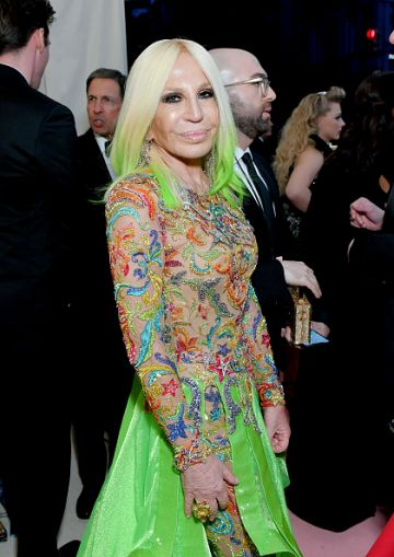 Donatella Versace attends The 2019 Met Gala Celebrating Camp: Notes on Fashion at Metropolitan Museum of Art on May 06, 2019 in New York City. (Photo by Mike Coppola/MG19/Getty Images for The Met Museum/Vogue )