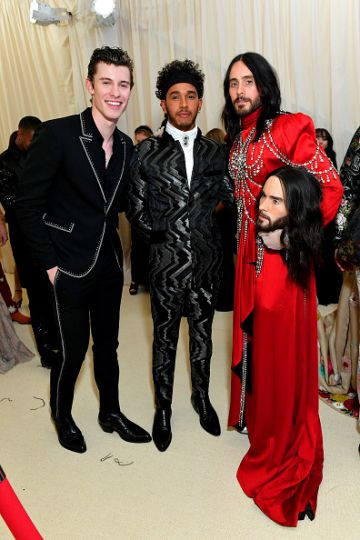 Shawn Mendes, Lewis Hamilton, and Jared Leto attend The 2019 Met Gala Celebrating Camp: Notes on Fashion at Metropolitan Museum of Art on May 06, 2019 in New York City. (Photo by Mike Coppola/MG19/Getty Images for The Met Museum/Vogue )