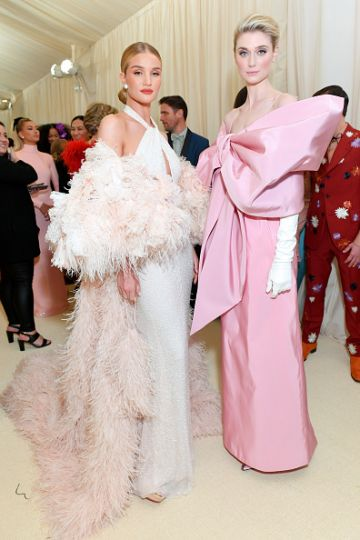 Rosie Huntington-Whiteley and Elizabeth Debicki attend The 2019 Met Gala Celebrating Camp: Notes on Fashion at Metropolitan Museum of Art on May 06, 2019 in New York City. (Photo by Mike Coppola/MG19/Getty Images for The Met Museum/Vogue )