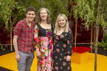 """Wednesday, 29th May, Derry Girls actors Nicola Coughlan and Dylan Llewellyn, pictured with Garden designer Elma Fenton at the Yesterday, """"What If"""" show garden at this year's Bloom Festival at the Phoenix Park in Dublin inspired by upcoming comedy """"Yesterday"""".  From director Danny Boyle and screenwriter Richard Curtis, and starring Lily James, Yesterday is in cinemas nationwide from June 28th Photo: Anthony Woods."""