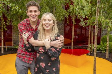 """Derry Girls actors Nicola Coughlan and Dylan Llewellyn pictured at the Yesterday, """"What If"""" show garden at this year's Bloom Festival at the Phoenix Park in Dublin inspired by upcoming comedy """"Yesterday"""".  From director Danny Boyle and screenwriter Richard Curtis, and starring Lily James, Yesterday is in cinemas nationwide from June 28th. Photo: Anthony Woods"""