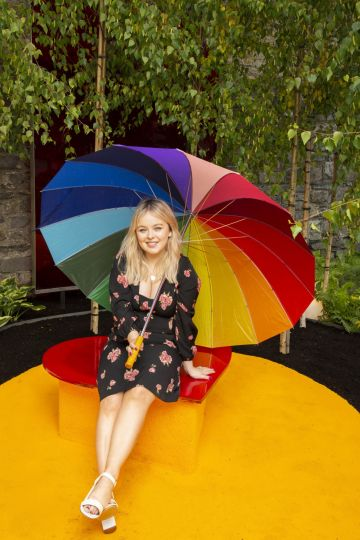 """Derry Girls actress Nicola Coughlan pictured at the Yesterday, """"What If"""" show garden at this year's Bloom Festival at the Phoenix Park in Dublin inspired by upcoming comedy """"Yesterday"""".  From director Danny Boyle and screenwriter Richard Curtis, and starring Lily James, Yesterday is in cinemas nationwide from June 28th. Photo: Anthony Woods"""