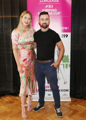 Lia Stokes and Deric Ó Hartagáin pictured at the social launch of this year's Longines FEI Jumping Nations Cup of Ireland at the Stena Line Dublin Horse Show, at Bewley's Grafton Street. This year's Show takes place at the RDS from August 7th - 11th. Photo: Leon Farrell/Photocall Ireland.