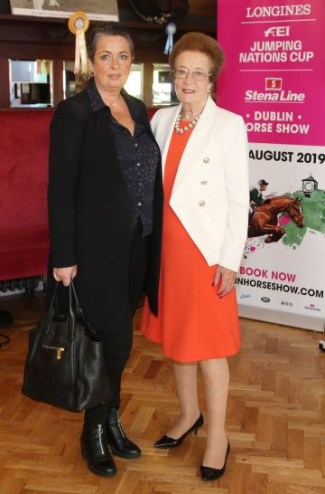Ellen McDermott and Eileen Smith pictured at the social launch of this year's Longines FEI Jumping Nations Cup of Ireland at the Stena Line Dublin Horse Show, at Bewley's Grafton Street. This year's Show takes place at the RDS from August 7th - 11th. Photo: Leon Farrell/Photocall Ireland.