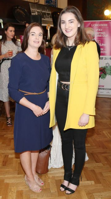 Katie Browne and Ciara Gilroy pictured at the social launch of this year's Longines FEI Jumping Nations Cup of Ireland at the Stena Line Dublin Horse Show, at Bewley's Grafton Street. This year's Show takes place at the RDS from August 7th - 11th. Photo: Leon Farrell/Photocall Ireland.