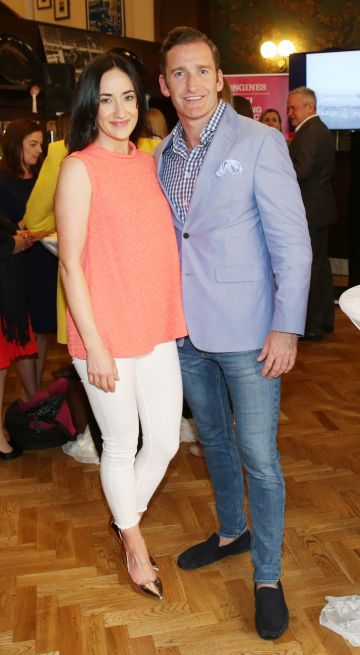 Gill Stacey and Paul Byrom pictured at the social launch of this year's Longines FEI Jumping Nations Cup of Ireland at the Stena Line Dublin Horse Show, at Bewley's Grafton Street. This year's Show takes place at the RDS from August 7th - 11th. Photo: Leon Farrell/Photocall Ireland.