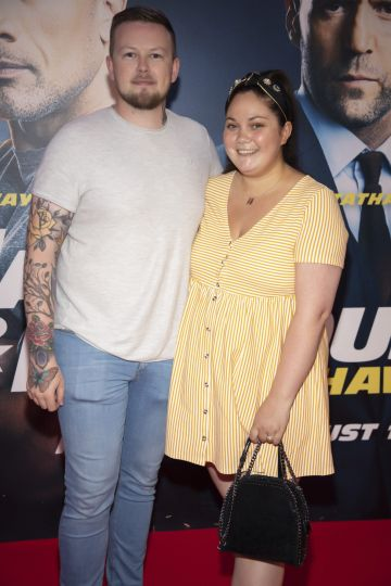 Chris Gernon and Grace Mongey pictured at a special preview screening of Fast & Furious Presents: Hobbs & Shaw. Photo: Anthony Woods