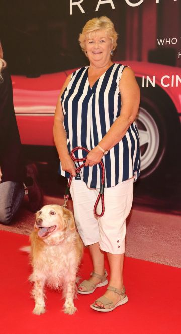 Lillian Hunt with Daisey  at the special preview screening of The Art of Racing in the Rain at the Odeon Cinema in Point Square,Dublin . Pic Brian McEvoy Photography