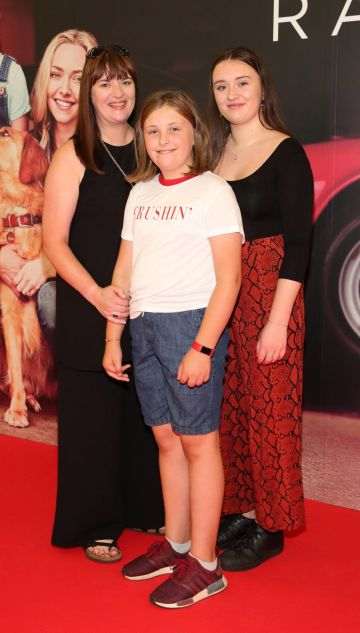 Tara Mullen, Rosie Mullen and Isobel Mullen at the special preview screening of The Art of Racing in the Rain at the Odeon Cinema in Point Square,Dublin . Pic Brian McEvoy
