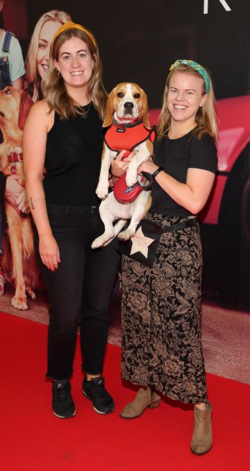 Eleanore Hutch and Mary Loughney with Bailey  at the special preview screening of The Art of Racing in the Rain at the Odeon Cinema in Point Square,Dublin . Pic Brian McEvoy Photography