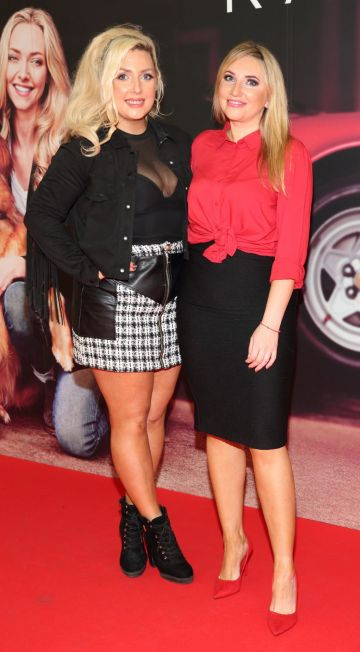 Sarah Dillon and Monica Walsh  at the special preview screening of The Art of Racing in the Rain at the Odeon Cinema in Point Square,Dublin . Pic Brian McEvoy Photography