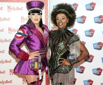 Jason Leigh Winters and Jacob McIntosh at the opening of the musical Kinky Boots at the Bord Gais Energy Theatre, Dublin.  Picture: Brian McEvoy