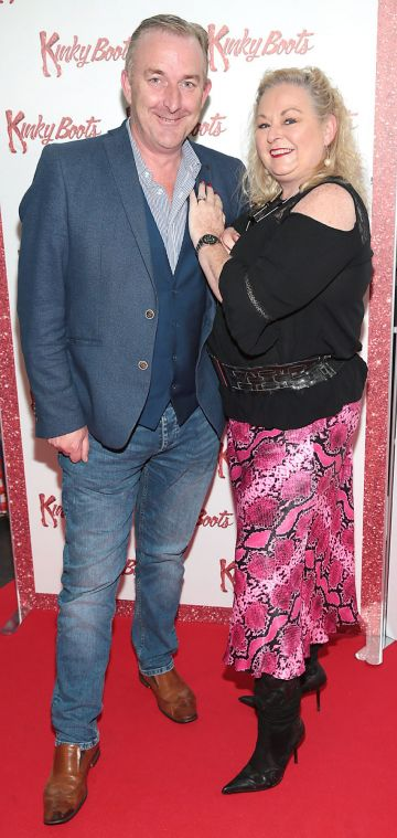 Adrian Kennedy and Linda Kennedy at the opening of the musical KKinky Boots at the Bord Gais Energy Theatre, Dublin.  Picture: Brian McEvoy